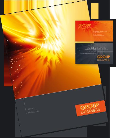 Group Dynamics – bemutatkozó prospektus és névjegykártya