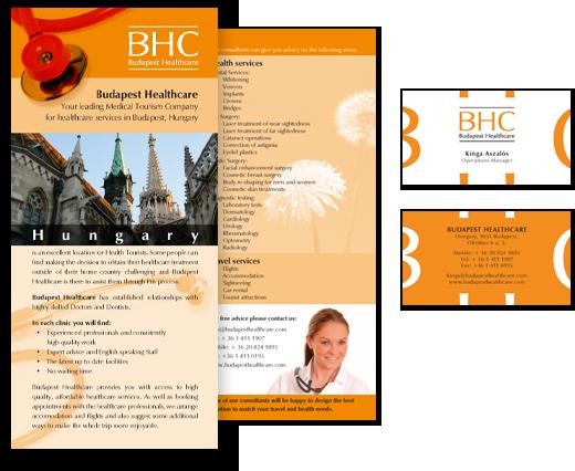 Budapest Healthcare – 2 oldalas LA4-es szórólap és 2 oldalas névjegykártya