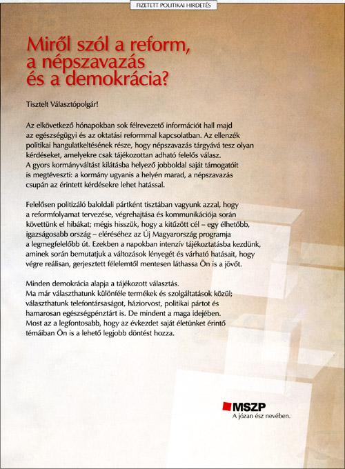 MSZP a józan ész nevében – fizetett politikai hirdetés