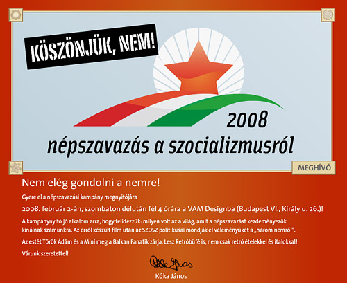 meghívó az SZDSZ népszavazási kampány megnyitójára