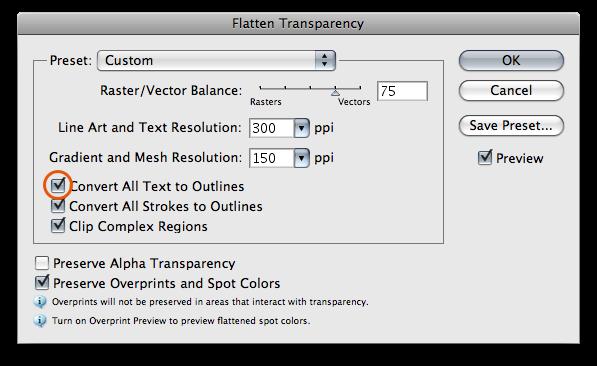 Flatten Transparency ablak