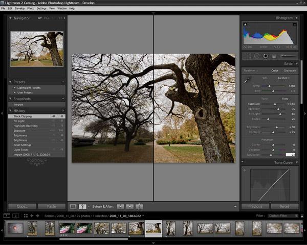 Adobe Photoshop Lightroom 2 kezelőfelület