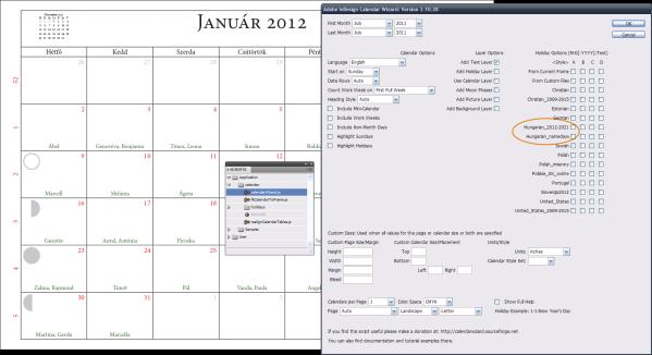 Adobe InDesign Calendar Wizard – magyar név- és ünnepnapokkal