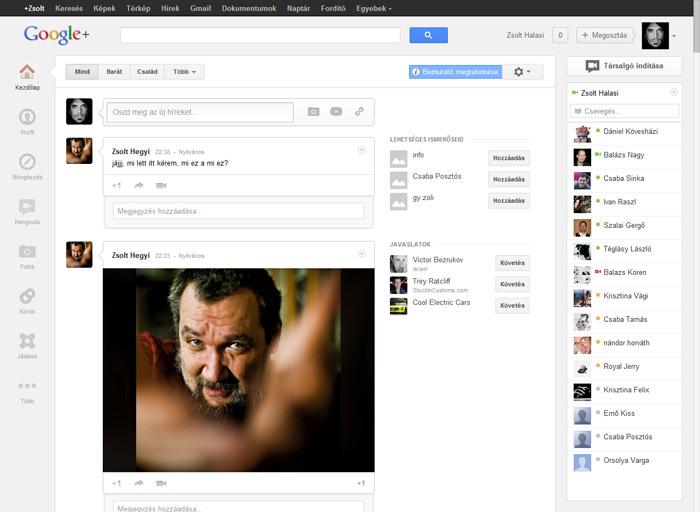 a megújult Google+ oldal