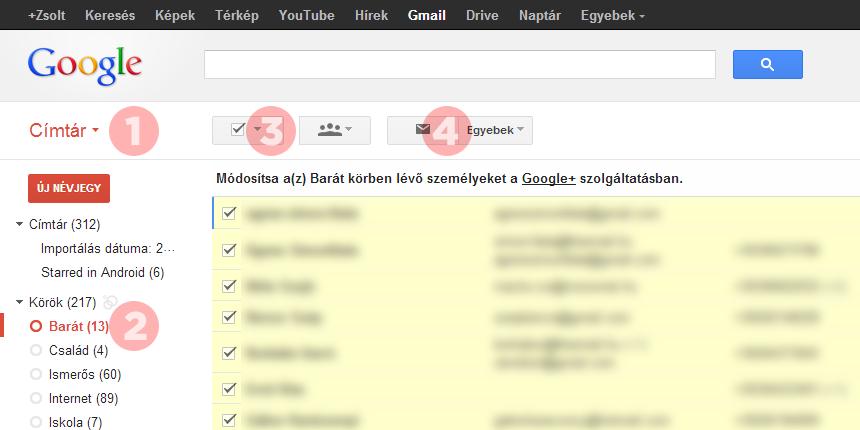 Gmail: levél küldése köröknek